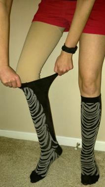 Xpandasox® stretch 24+ inches around the calf.